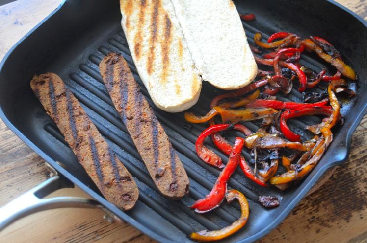 Vegan Hotdog in pan